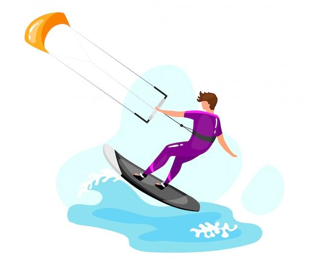 カイトサーフィンのイラスト。エクストリームスポーツの経験。アクティブなライフスタイル。夏休みの野外活動。海のターコイズブルーの波。青色の背景にスポーツマンの漫画のキャラクター