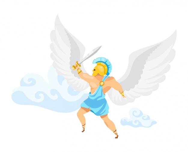 イカロスのイラスト。戦士は空を飛ぶ。幻想的な戦闘機。剣と空気中の剣闘士。ギリシャ神話。白い背景の上の翼の漫画のキャラクターを持つ男