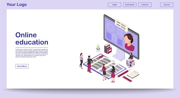 Вектор шаблон сайта образования онлайн с изометрической иллюстрацией целевой страницы