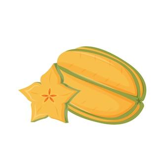 カランボラ漫画イラスト。有機デザート、ジューシーなスターアップル、熟したトロピカルフルーツカラーオブジェクト。スライスしたスターフルーツ、白い背景の上のエキゾチックなサラダの材料