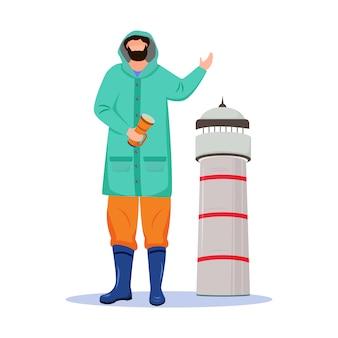 Маяк хранитель плоский векторные иллюстрации. морское занятие. моряк в плаще с изолированным фонариком мультипликационный персонаж