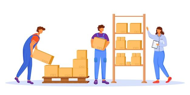 郵便局の男性労働者とローダーフラットカラーベクトルイラスト。男はパッケージを配布します。郵便配達。ボックスと小包輸送分離漫画のキャラクター
