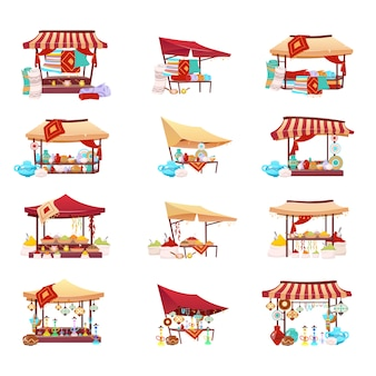 バザール貿易テント漫画ベクトルイラストセット。中東市場のフラットカラーオブジェクト。お土産、手作り陶器、水ギセル、細工されたカーペットが分離された小売キャノピー