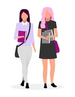 Подростковая школа лучшие друзья плоский векторные иллюстрации. школьницы с книгами вместе героев мультфильмов. подростковые одноклассники идут в школу с сумками и учебниками. стильные студенты