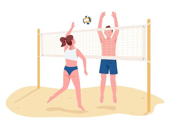 Мужчина и женщина играют в пляжный волейбол плоский цвет вектора безликих персонажей. активные летние развлечения, спортивные игры изолированные иллюстрации шаржа