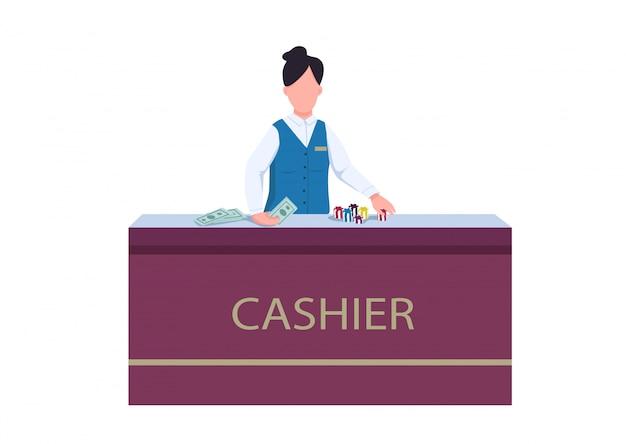 Касса плоский цветной вектор безликий характер. женщина в униформе за столом. женский персонал обменивает фишки на деньги. персонал стол для получения денежного приза. казино счетчик изолированных мультфильм иллюстрации