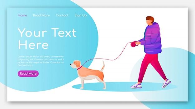 Человек в пальто целевой страницы плоский цветной векторный шаблон. кавказский парень гуляет собака макет домашней страницы. дизайн сайта