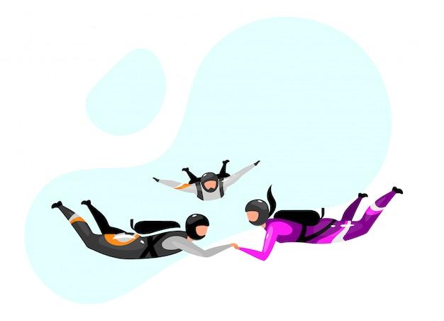 加速フリーフォールフラットイラスト。スカイダイビングタンデム。エクストリームスポーツ。アクティブなライフスタイル。野外活動。スポーツマン、スポーツウーマン、スカイダイバー分離された青の背景に漫画のキャラクター