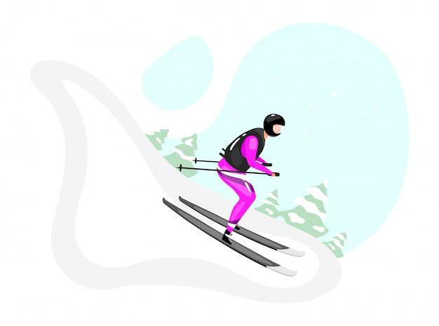 Горные лыжи плоской иллюстрации. экстремальные зимние виды спорта. активный образ жизни. активный отдых на снежной горе. спортсмен на лыжах изолированные мультипликационный персонаж на синем фоне