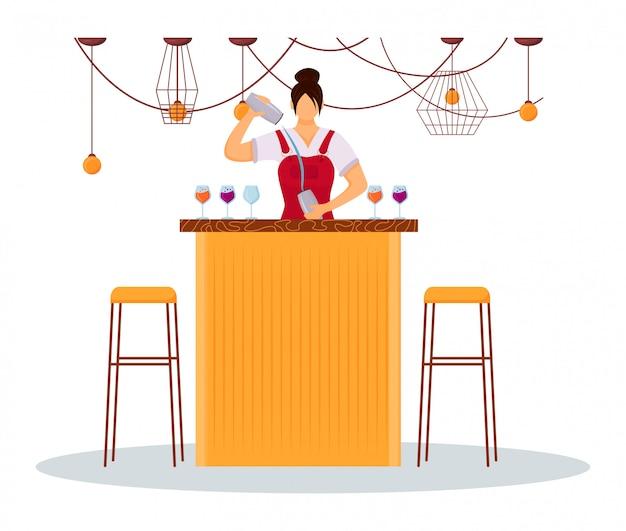 女性バーテンダーフラットカラーイラスト。バーのカウンターで制服を着たサービススタッフ。カクテルを準備する女性ホテル労働者。白い背景の上のシェーカー分離の漫画のキャラクターとバーメイド