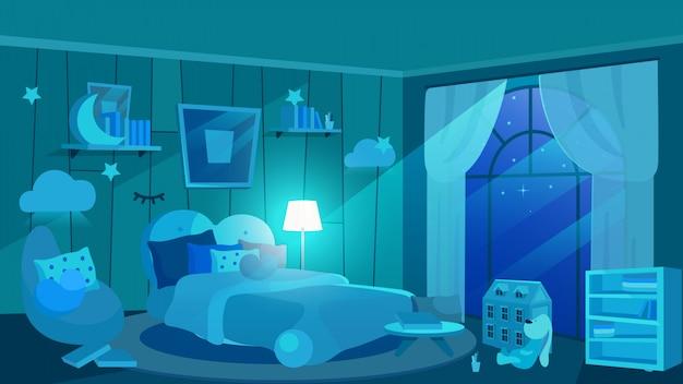 夜フラットイラストで子供の寝室。青い色合いの子供部屋のインテリア。