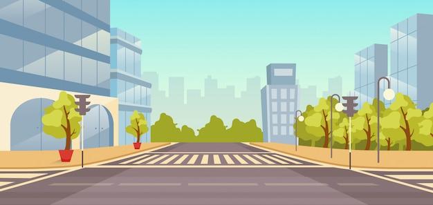 都市通りフラットイラスト。人のいない街並み。高層ビル、公園の漫画の背景を持つ都市高速道路。町の建物と道路が横断歩道と交差し、信号機の背景