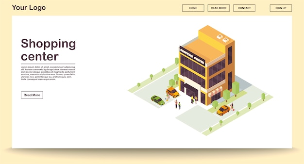 Шаблон веб-страницы торгового центра с изометрической иллюстрацией