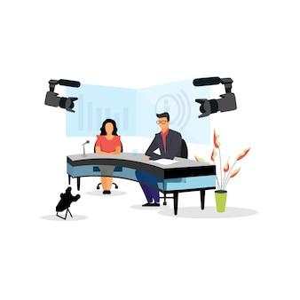Телеведущий, журналисты на иллюстрации студии новостей.