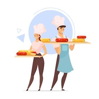 チーズメーカーフラットカラーイラストのカップル。チーズの生産。
