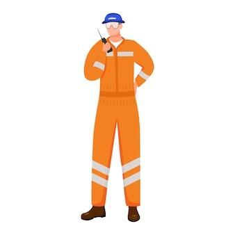 Инженер плоской иллюстрации. морская логистика. перевозка. морские перевозки. рабочий изолировал мультипликационный персонаж на белом фоне