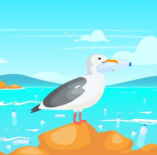 ペットボトルのイラストとカモメ。自然のダメージ。生態学的大災害。海洋問題におけるプラスチック汚染。くちばし使い捨て容器の漫画のキャラクターを保持している鳥