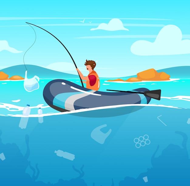 ゴミイラストいっぱい海で釣りをする人。水のジャンク。自然のダメージ。生態学的大災害。海洋汚染。ロッドの漫画のキャラクターのプラスチックパッケージを持つ漁師