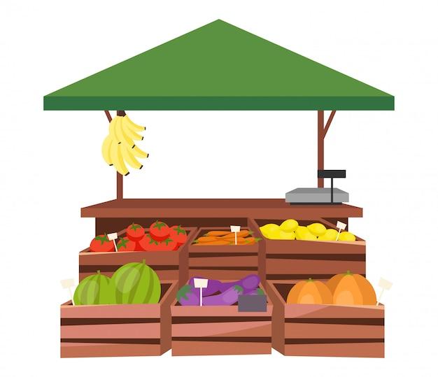 Фрукты и овощи на рынке стойло плоской иллюстрации