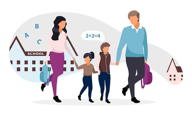 Молодые родители принимая детей от школьной иллюстрации. семья собирается домой вместе говорить и держаться за руки героев мультфильмов. отец и мать с двумя детьми. школьник и школьница