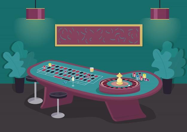 ルーレットテーブルカラーイラスト。ホイールをスピンしてベットに勝ちます。黒と赤に株式を置く。ギャンブルエンターテイメント。背景に豪華な装飾が施されたカジノルーム漫画インテリア