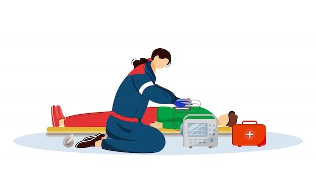 救急救命士が除細動器のイラストで応急処置をします。救急医、衛生兵、負傷した患者の漫画のキャラクター。蘇生、緊急医療専門医、白の救助者