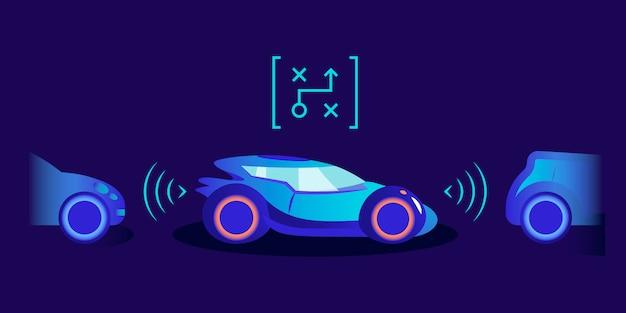 駐車支援カラーイラスト。青色の背景に革新的な支援システムを備えたスマートな自動車。安全な駐車のためのセンサーを備えた未来の自律輸送