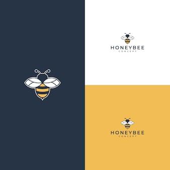白または黄色のミツバチのロゴ