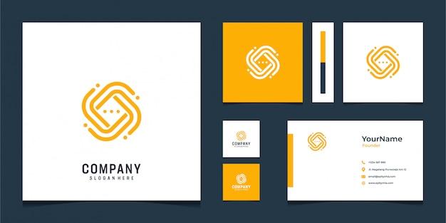 抽象的な形でモダンなオレンジ色のロゴと名刺デザイン