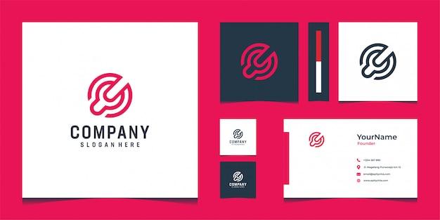明るい赤色でインスピレーションを与えるモダンなロゴと名刺デザイン