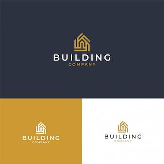 Современный вдохновенный логотип недвижимости в золотом цвете