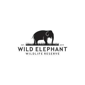 野生の象のロゴ