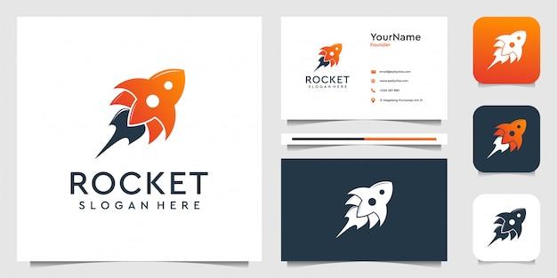 Ракета логотип в современном стиле. хорошо для бренда, бизнеса, рекламы, значка, символа, неба и визитной карточки
