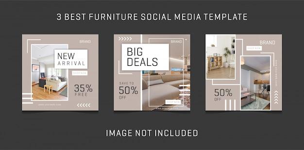シンプルなソーシャルメディアデザインテンプレートは、家具のテーマをもたらす