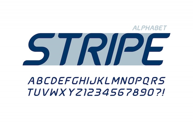 Футуристический дизайн алфавита, гарнитура, буквы и цифры.