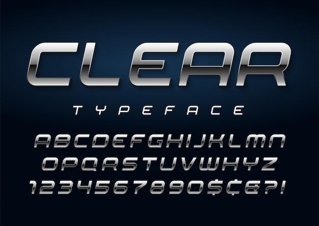 Блестящий серебряный шрифт, алфавит, набор символов