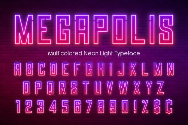 Неоновый свет алфавит, разноцветный дополнительный светящийся шрифт