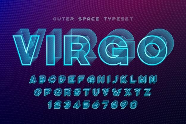 Дева футуристический декоративный шрифт, алфавит