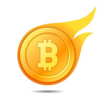 燃えるようなビットコインのシンボル、アイコン