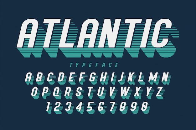 Сжатый ретро шрифт с алфавитом, набор символов