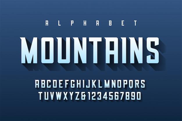 Сжатый ретро шрифт с алфавитом, набор символов, ле