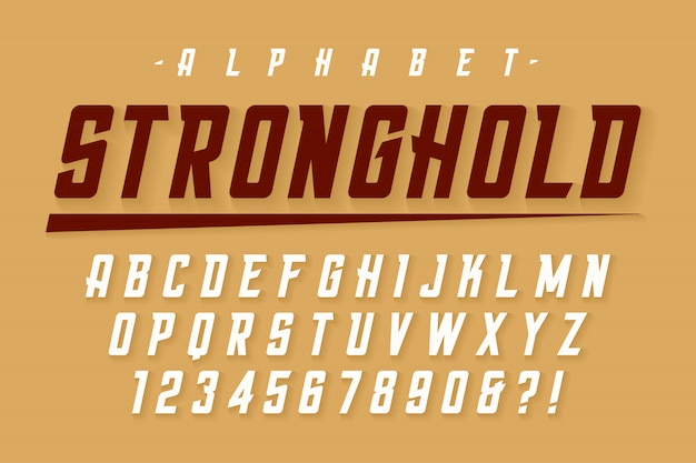 ベクトルは、アルファベット、文字で強力なフォントを凝縮
