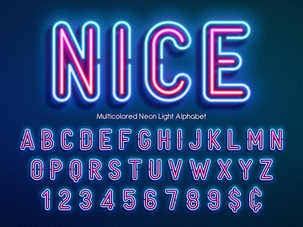 ネオンライトアルファベット、多色の余分な輝くフォント