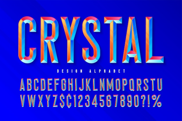 ファセット、アルファベット、文字、数字のクリスタルディスプレイフォント