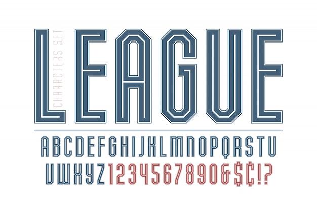 スポーツとテクノのディスプレイフォントデザイン、アルファベット