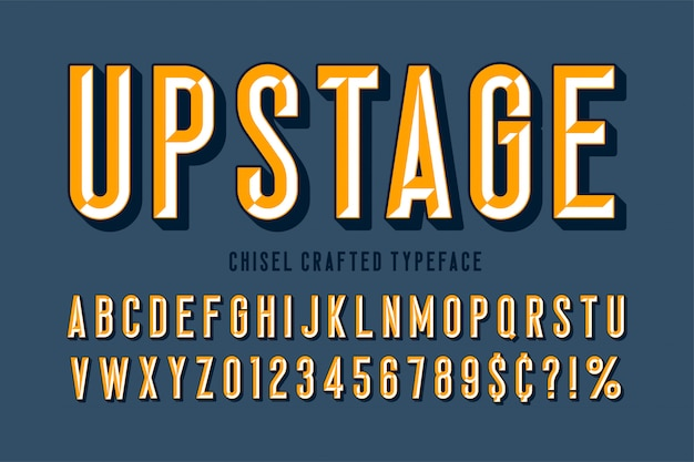 Оригинальный дисплейный шрифт с фасетами, алфавитом, буквами и цифрами