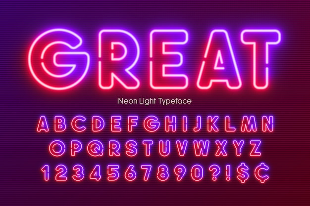 ネオンライトアルファベット、多色の余分な輝くフォント。