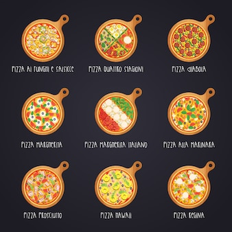 Набор итальянской пиццы на деревянных досках