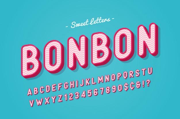 ベクトル甘いキャンディフォントデザイン、アルファベット、書体、文字と