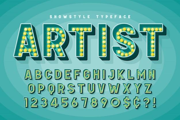 Дизайн шрифтов в стиле ретро кино, кабаре, бродвейские буквы